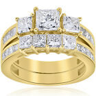 3 1/2ct Side Stone Diamond Engagement Matching Wedding Ring Set 14K Yellow Gold