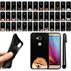 For Huawei Honor 5X/ Sensa 4G Dog Design TPU Black SILICONE Case Cover + Pen