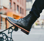 Men's Carved High Tops Ankle Boots Lace Up Brogues Leather Wingtip Shoes