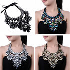Beauty Glass Beads Chain Black Fabric Crystal Bib Cluster Pendant Necklace