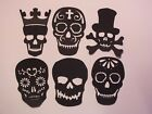 8 BLACK SKULL SKULLS GOTHIC STEAM PUNK SILHOUETTE CARD TOPPER MIX OR MATCH