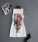 New Occident round neck fashion vase printing sequined makings xmas dress SMLXL