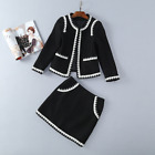 New winter Occident fashion round neck edge coat+package hip skirt suits SMLXL