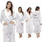 Ladies Super Soft Pink Shimmer Fleece Robe,Plush Hooded Dressing Gown,8-22,LN605