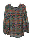 Tolani Sage Multi Exotic Pattern Silk Greer Button Up Blouse Top XS New