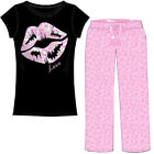 Emme Jordan 2-Piece Ladies Cotton Pajama Set: Foil Accented Tee w/Fluffy Pants!