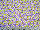 Discount Fabric Quilting Cotton Purple, Yellow and Green Floral 204J