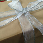 SILVER SPECKLES & TINSEL Sheer Organza Christmas - Luxury Wire Edge Ribbon