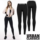 Urban Classics Damen Ladies LOGO Leggings Sport Yoga Leggins Pants Schwarz