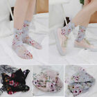 All-match Acrylic Loose Sock Women Casual Flowers Lace Floral Sheer Socks O0104