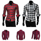 Mens New Luxury Casual Laundry Soft Cotton Checked Long Sleeve Shirt Sizes M-XXL