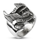 New Stainless Steel Biker Eagle 'LIVE TO RIDE RIDE TO LIVE' Ring - Sizes 9-15