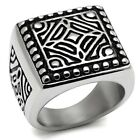 Large New Stainless Steel Stud Edged Geometric Pattern Men's Ring - Sizes 8-13