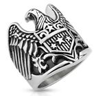 Men's Large New Stainless Steel Eagle Shield Stars Biker Ring - Sizes 9-14