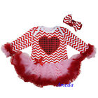 Valentine's Day Baby Red Pink Chevron Heart Tutu Bodysuit Party Dress & Headband