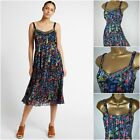 NEW PER UNA M&S SUN DRESS FLORAL BLACK BLUE RUST GREEN CHIFFON BOHO 8 - 24