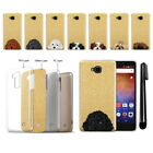 For Huawei Ascend XT H1611 Dog Design Sparkling Gold Silicone Case Cover + Pen