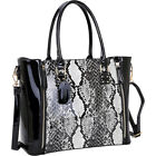 Dasein Patent Faux Leather Zipper Sides with Snakeskin Satchel NEW