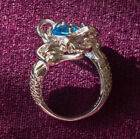 Blue Aquamarine Mermaid 925 Sterling Silver Filled Birthstone December Ring R119