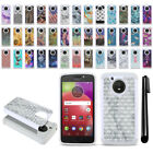 For Motorola Moto E4 XT1767 XT1768 (USA) Studded Bling HYBRID Case Cover + Pen
