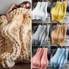 Home Living Room Bed Warm Thick Knitted Sofa Solid Blankets B20E