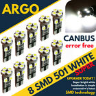 501 Canbus 8 Smd Xenon Hid Led White Error Free Car Side Light Bulbs T10 W5W