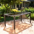 San Simeon Outdoor Wicker Rectangular Dining Table with Tempered Glass Top