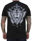 Men's Flying Tiger by Jacob Doney Wild Cat Butterfly Tattoo Art Black T-Shirt