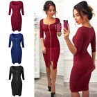 Front Zipper Cocktail Womens Sexy Deep V Neck Bodycon Ladies Solid Dress O6895
