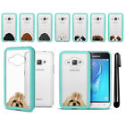 For Samsung Galaxy J1 J120 2nd 2016 Dog Skin Clear Teal Bumper Case Cover + Pen