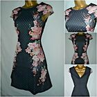 NEW LIPSY MICHELLE KEEGAN SKATER DRESS BLACK PINK FLORAL MIRROR ILLUSION 4 - 16