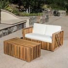 Edward Outdoor Acacia Wood Loveseat and Coffee Table Set with Cushions