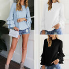 Plus Size  Fashion Womens Long Flare Sleeve Blouse Loose Tops Casual T-Shirt