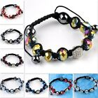 Multi-color Faceted Crystal Glass Disco Ball Beads Stretchable Woven Bracelet