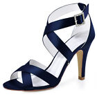 Women Peep Toe High Heel Strappy Sandals Buckle Satin Wedding Party Bridal Shoes