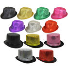SEQUIN TRILBY FEDORA TOP HAT FANCY DRESS HEN STAG GANGSTER CABARET DISCO SHOW