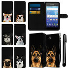 For Kyocera Hydro Wave C6740 C6745 Dog Canvas Wallet Pouch Case Cover + Pen