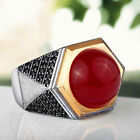 Mens Ring Red AGATE NATURAL GEMSTONE with Onyx Accents in Solid Sterling Silver