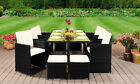 10 Seater Rattan Outdoor Garden Furniture Set - 6 Chairs 4 Stools & Dining Table