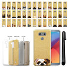 For LG G6 H870/ G6+ Plus US997 Dog Slim Sparkling Gold TPU Case Cover + Pen