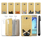 For Samsung Galaxy On5 G550 G500 Cat Design Sparkling Gold TPU Case Cover + Pen