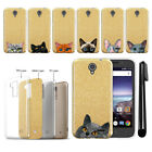 For ZTE Prestige 2 N9136 2017 Cat Design Sparkling Gold TPU Case Cover + Pen