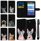 For Kyocera Hydro Wave C6740 Cat Design Wallet Pouch Case Cover + Pen