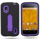 Protective Hybrid Armor Rugged Kickstand Phone Cover Case for LG Nexus 4