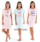 Ladies Womens Nightshirt Short Sleeve Nightdress Loungewear