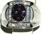 Men's 7.2ctw Amethyst & White Topaz Stainless Steel Ring  February Birthstone