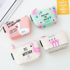 Women Girls Coin Purse Flamingo Canvas Zipper Wallet Key Holder Mini Pouch Bag