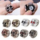 Unisex Vintage Cool Design Skull Case Flip Quartz Elastic Finger Ring Watch image