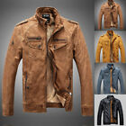 Fashion Men's Motorcycle Biker Jacket PU Leather Cotton Lined Jacket Warm Coats