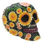 Day of the Dead Skull Head Ornament with Yellow Daisy Floral Motif